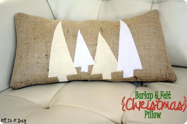 diy christmas decor, diy christmas pillow, burlap pillow