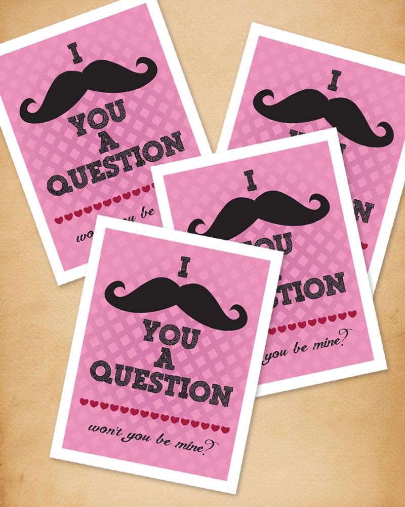 mustache valentine, printable valentine, mustache valentine's day card