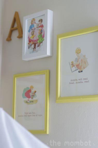 girl's room, vintage pattern art, dick and jane art