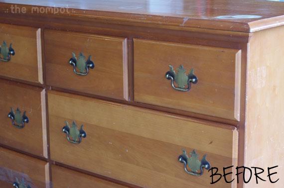 refinished dresser, antiqued dresser, faux antiquing, how to antique furniture