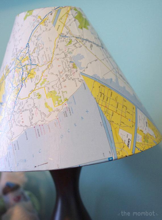 diy map covered lampshade, lampshade covering tutorial, map lampshade
