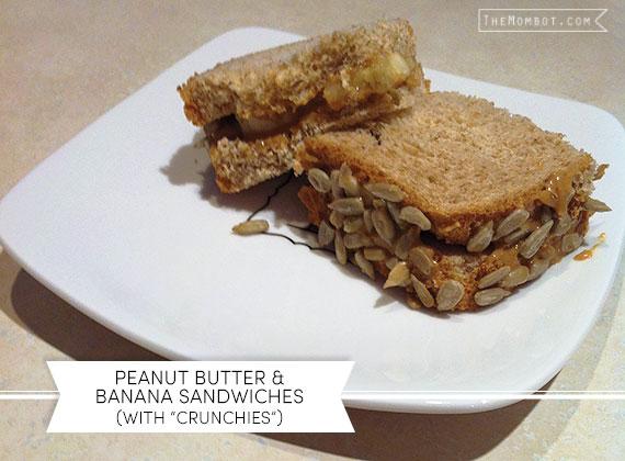 Peanut butter & banana sandwiches with sunflower seeds | TheMombot.com