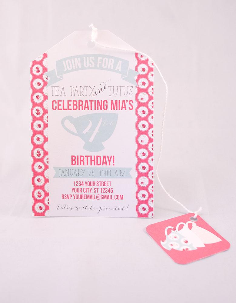 Printable tea party birthday invitation | TheMombot.com